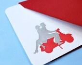 Letterpress Notecards Set of 6 - Couple on Vespa Silhouette by Le Papier Studio