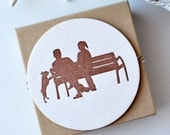 Silhouette Letterpress Coasters - Couple with Dog - Set of 4