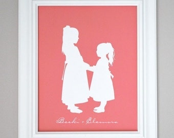 Sisters - Personalized Custom Silhouette Print 8x10