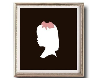 Children's Custom Silhouette Print, Nursery Gift, Print made from your photo, Unframed