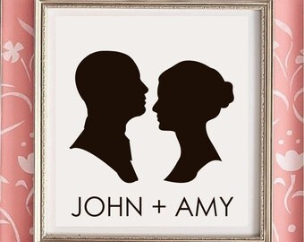 Custom Silhouette, Couple's Portrait, Personalized Wedding Gift, 10x10