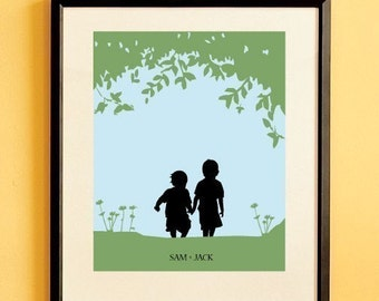 Children's Silhouette Art Print, Kids Nursery Room Decor, Name Print, Custom Wall Hanging - Walk with Me