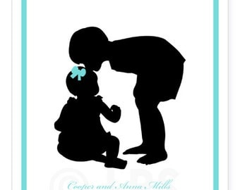 Custom Silhouette Print From Your Photo - Siblings - Nursery Wall Art - Nursery Decor for Boy or Girl