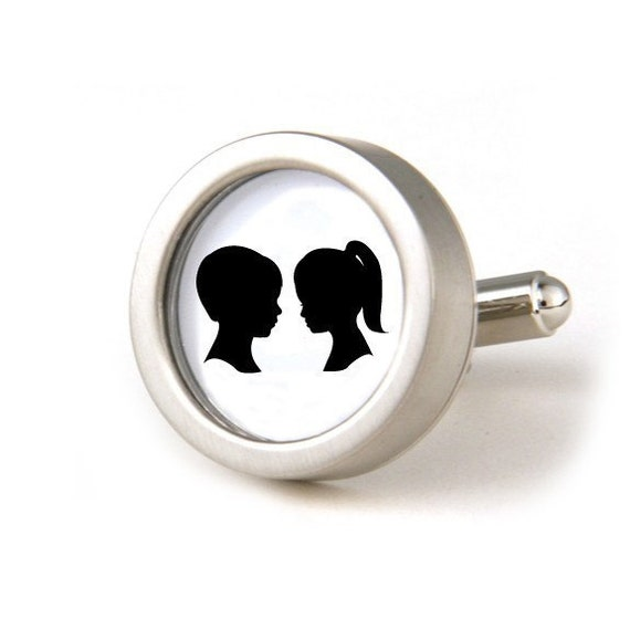 Silhouette Cuff Links, Father's Day Gift, Gifts for Groomsmen, Silhouette Jewelry, Anniversary Gift, Wedding Gift, Custom from Your Photos