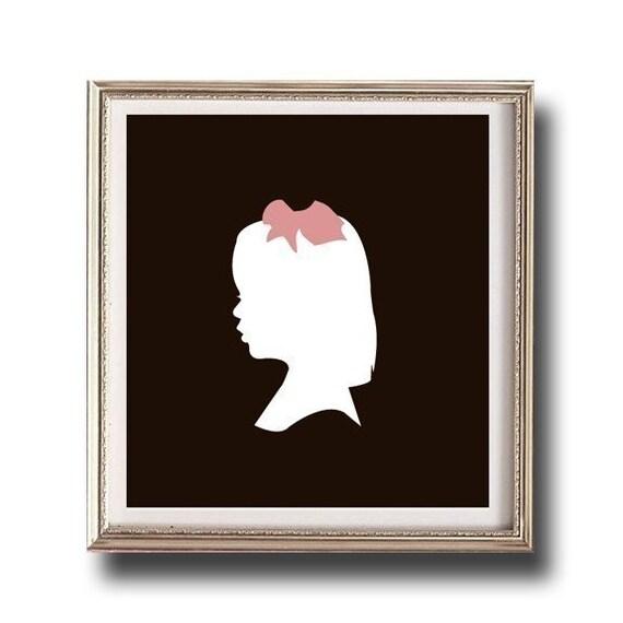 Children's Custom Silhouette Print, Nursery Gift, Print made from your photo, Unframed