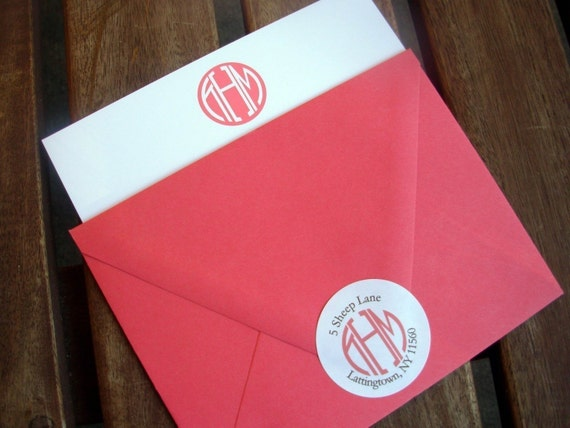 Monogram Stationery, Personalized Stationery, Newlyweds stationery, Cards and Address Labels Sets