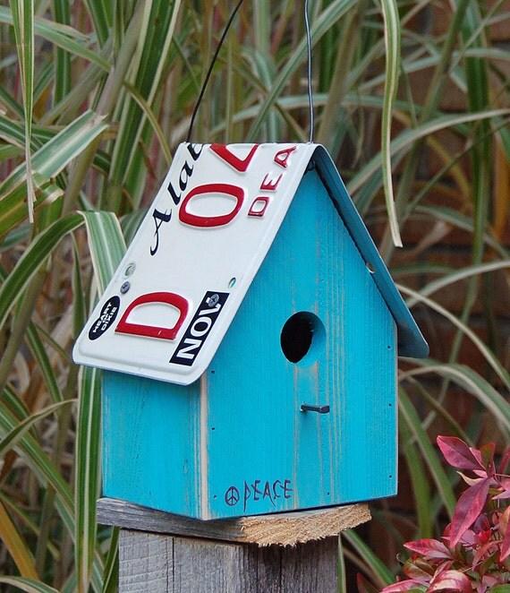 Birdhouse - Caribbean Blue Peace Sign