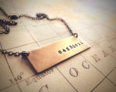 Save the Date - Custom Brass and Sterling Necklace