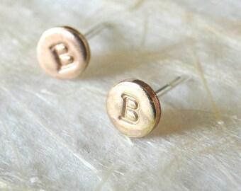 Gold Monogram Stud Earrings