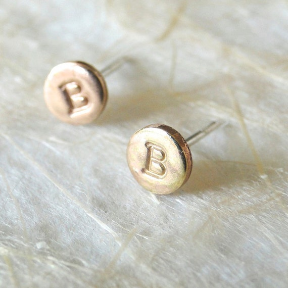 Gold Monogram Stud Earrings