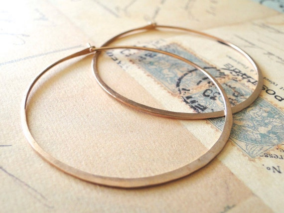 Big Rose Gold Hoops, Rose Gold Hoop Earrings