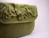 ON SALE READY TO SHIP foldover ruffle clutch in olive