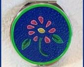 Pocket Mirror Round Blue Design