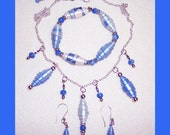 Blue Necklace, Bracelet, Earring Set with box