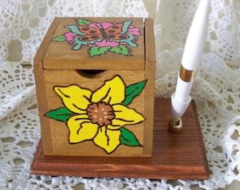 Handmade Desk Accessory Holder with Pen
