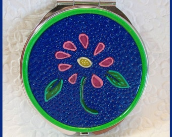 Pocket Mirror Round Blue Design