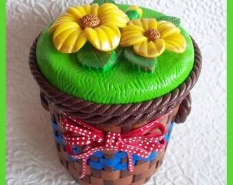 Decorative Floral Basket  Jar