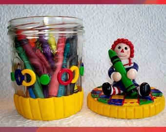 Raggedy Ann Crayon Jar