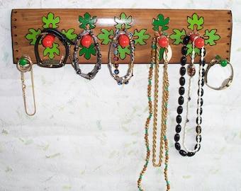 Wall Jewelry Holder, Wall Jewelry Rack, Woodburn Leaf Design, Wall jewelry Hanger, Jewelry Display, Jewelry Organizer, Wood Jewelry Holder