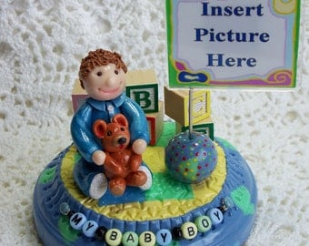 Personalized Baby Boy Figurine and photo Holder - Sale