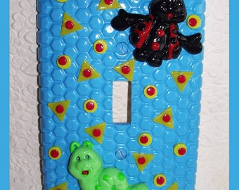 Childrens Light Switch Plate Blue