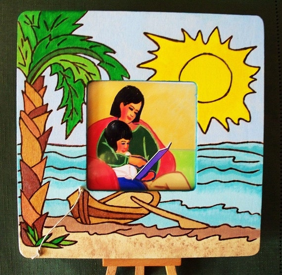 Photo Picture Frame Tropical with Attached Easel Stand