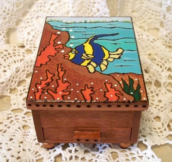 Wood Angel Fish Jewelry Box