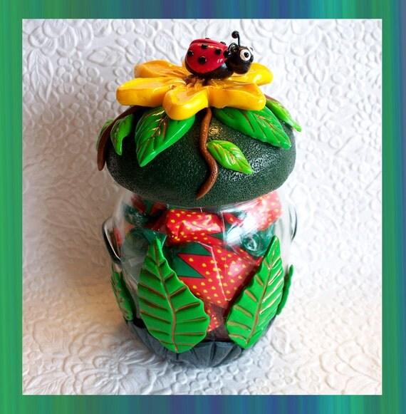 Keepsake Treat Jar /  Ladybug Design
