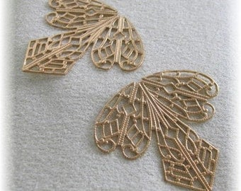 Raw Brass Filigree 1 pair  for Wrapping around Stones or pendants etc  9040
