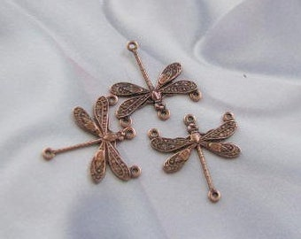 Antique Copper  plated Victorian Style Dragonfly 4 Holes Small  07565