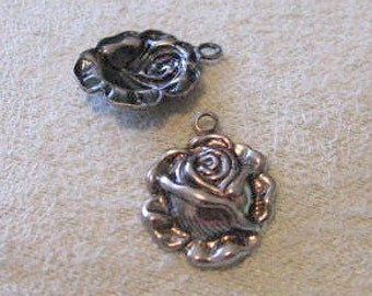 Antique silver finish brass Rose 1 RING Dangles