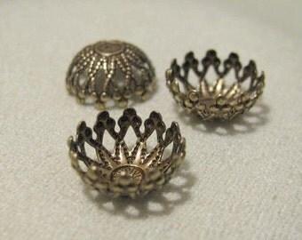 Larger size Antique Gold Finish  Filigree Bead Cap 10