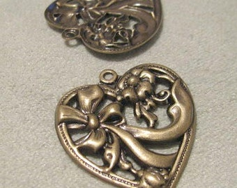 Antique Gold FINISH  Fancy Heart STAMPINGS