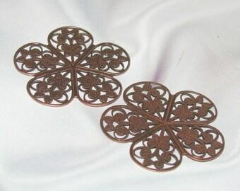Beautiful Medium COPPER FINISH Brass Filigree Stamping -1 Pair-  6714 acp