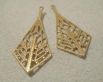 Filigree Raw Brass Drops  06603