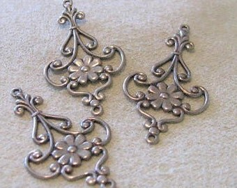 Large Size Antique Silver Finish Brass Filigree Stamping  06831 ASP