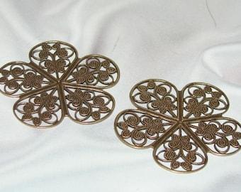 Beautiful Medium ANTIQUE GOLD FINISH Brass Filigree Stamping -1 Pair-
