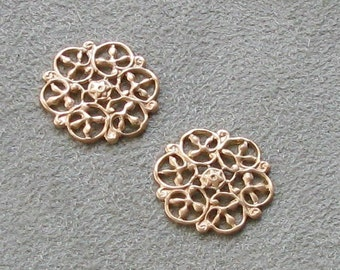 Sweet Petite Snowflakes Brass Filigree Stampings  07323