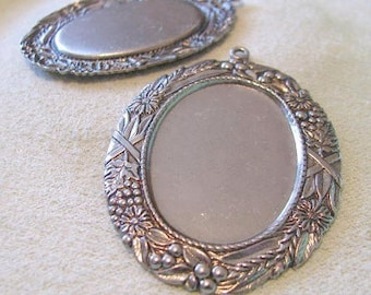 Large Cabochon setting in antique Silver Finish  8761-s ASP