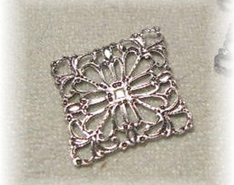 Antique Silver  Finish Filigree Connectors  Square shaped 02099 asp