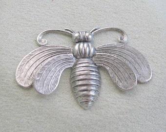 Matte Silver Ox finish  3D Bee