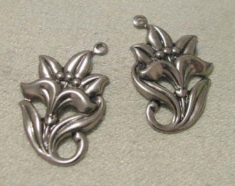 Left and Right facing Antique Silver finish Brass flowers