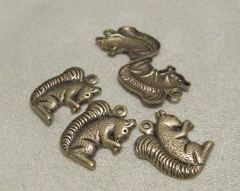 Antique Gold Brass Squirrel Stamping Charms