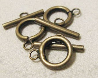 Antique Gold Finish Toggle Clasp 5 sets