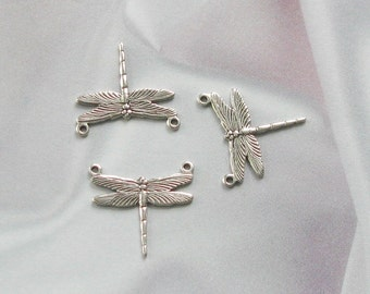 VINTAGE SILVER PLATED VICTORIAN DESIGN DRAGONFLY FINDING 2 Hole Small