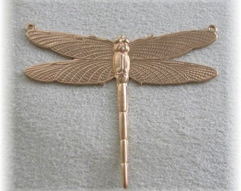 1 Pair Raw Brass Dragonfly Jewelry Finding  or for Wrapping 2 rings  Large Size 7355-2r