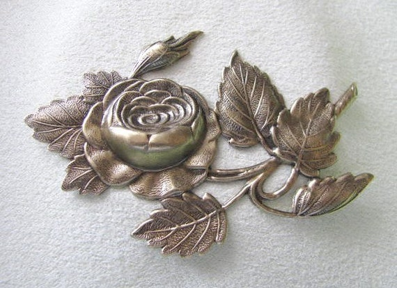 Large Rose on Branch in Antique Gold Finish