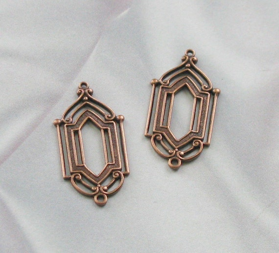 Copper Finish Filigree Stampings connectors frames findings  07005 acp