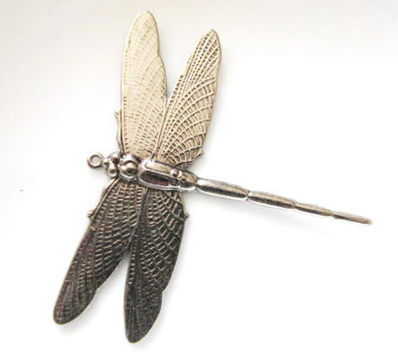1 Pair Antique Silver  Dragonfly Jewelry Finding  or for Wrapping 1 ring