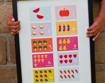 Arabic Numbers Print (Girls Colorway)